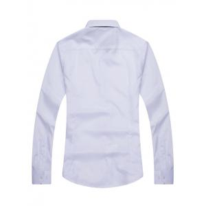 Turn-down Collar Pure Color Long Sleeve Shirt For Men -