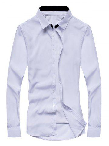 Shops Turn-down Collar Pure Color Long Sleeve Shirt For Men
