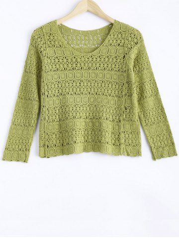 Hot Cute Lace Crochet See-Through Pure Color Blouse