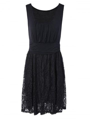 Embroidery Lace Splicing Tank Dress - Black - S