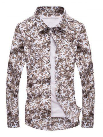Fancy Ornate Print Turn-down Collar Long Sleeve Shirt For Men