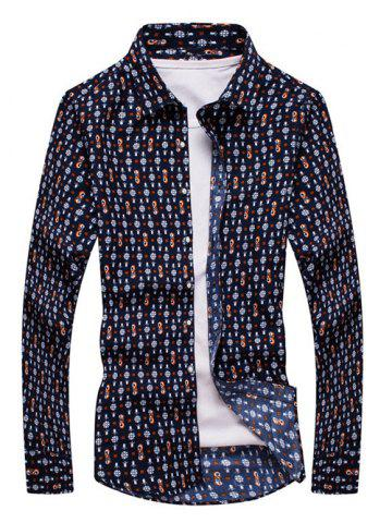 Outfits Folral Print Turn-down Collar Long Sleeve Shirt For Men