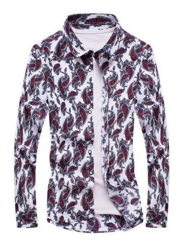 Affordable Paisley Print Turn-down Collar Long Sleeve Shirt For Men WHITE 5XL