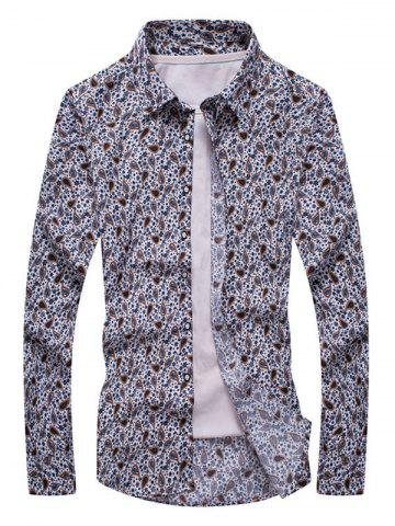 Affordable Floral Paisley Print Turn-down Collar Long Sleeve Shirt For Men COLORMIX 5XL