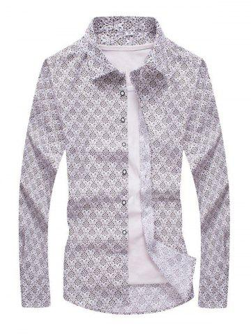 Outfits Ornate Floral Print Turn-down Collar Long Sleeve Shirt For Men