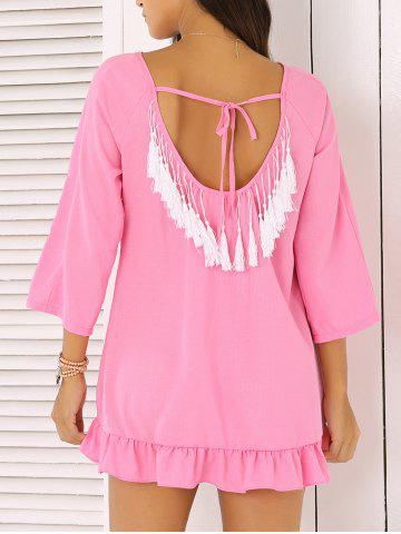 Discount Chic 3/4 Sleeve Fringed Backless Women's Dress