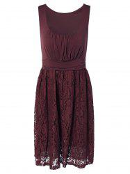 Embroidery Lace Splicing Tank Dress - WINE RED