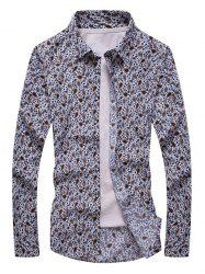 Floral Paisley Print Turn-down Collar Long Sleeve Shirt For Men - COLORMIX 4XL