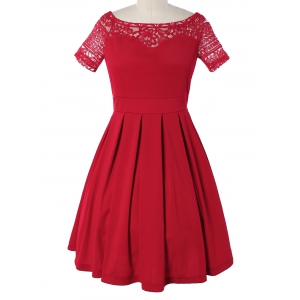 Vintage Lace Spliced Pleated Mini Cocktail Dress - Red - S