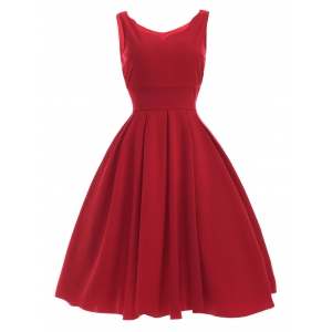 Vintage Sweetheart Neck Red Pleated Dress - Red - M