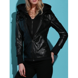 Chic Solid Color Faux Twinset PU Jacket