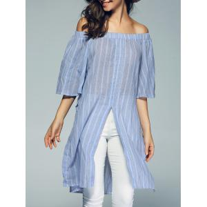 Sweet Off The Shoulder Stripe Semi Sheer Slit Long Blouse