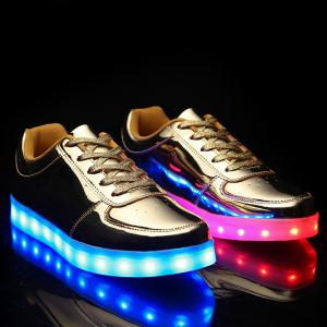 Trendy Lights Up Led Luminous and Metal Color Design Casual Shoes For Men - Golden - 40