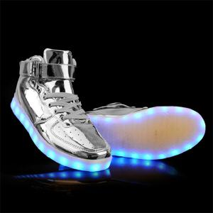 Stylish Tie Up and Lights Up Led Luminous Design Casual Shoes For Men - Silver - 43