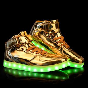 Stylish Tie Up and Lights Up Led Luminous Design Casual Shoes For Men - Golden - 43