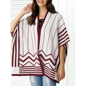 Fashionable Collarless Batwing Sleeve Cardigan For Women - Wine Red - One Size
