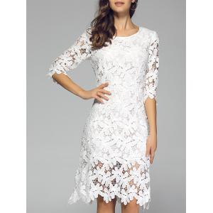 Ladylike Pure Color Laciness Dress For Women
