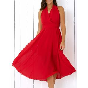 Graceful Pure Color Wrap Dress For Women