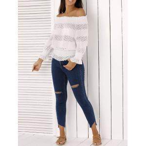 Fashion Off The Shoulder Peplum Top and Distressed Skinny Jeans - Denim Blue - L