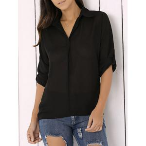 Long Sleeve Chiffon Button Up Casual Tunic Shirt