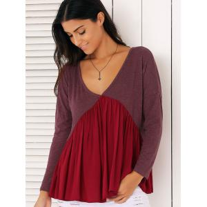 Sweet Long Sleeve Plunge Neck Pleated Asymmetric Swing Blouse - Claret - S