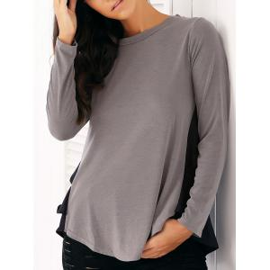 Casual Long Sleeve Chiffon Spliced Flounced Blouse - Gray - S