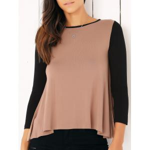 Casual Long Sleeve Color Block Flounced Asymmetric Blouse - Camel - S