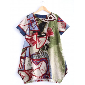 Stylish V Neck Abstract Print Loose Fitting Dress