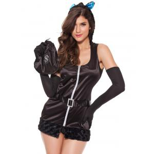 Alluring Hooded Tail Embellished Women's Cosplay Costume