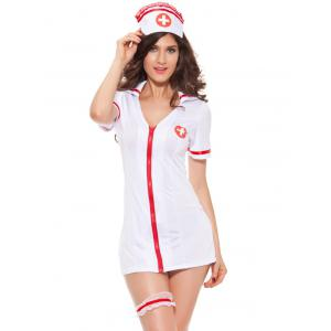 Chic Zippered Hit Color Women's Nurse Cosplay Costume - White - One Size