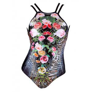 Trendy Floral Print Leopard Pattern Criss Cross Women's Swimwear
