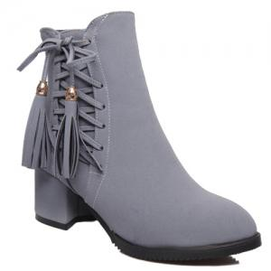 Chic Criss-Cross and Tassels Design Short Boots For Women - Gray - 38