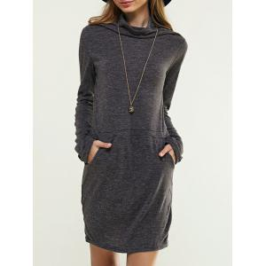 Long Sleeve Cowl Neck Solid Color Dress