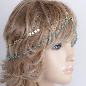 Fashional Multilayer Beaded Sequin Hair Accessory For Women - Blue And Golden