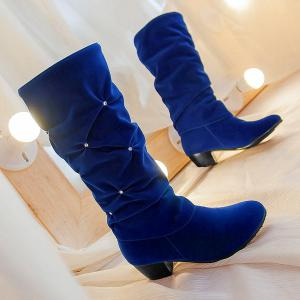 Stylish Ruched and Rhinestone Design Mid-Calf Boots For Women