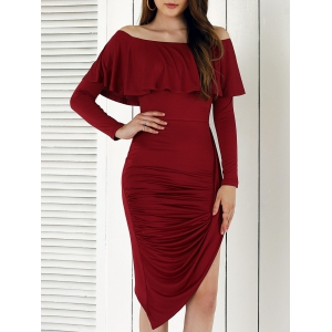 Novelty Long Sleeve Asymmetrical Overlay Dress - Wine Red - M