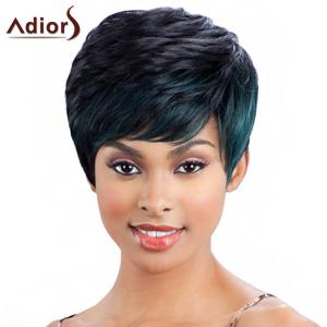 Fashion Mixed Color Short Fluffy Capless Straight Side Bang Synthetic Wig For Women - Colormix