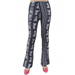 Elephant Patterned Boot Cut Pants - White And Black - One Size