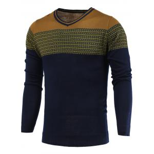 Color Block Spliced V-Neck Long Sleeve Sweater