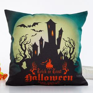 Fantastic House Light Halloween Design Linon Pillow Case - Red With Black