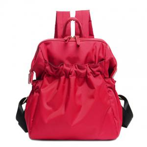 Simple Solid Colour and Nylon Design Backpack For Women