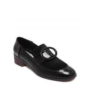 Preppy Splice and Round Buckle Design Pumps For Women