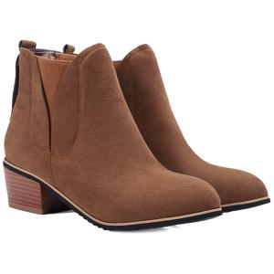 Block Heel Suede Ankle Boots - Brown - 38