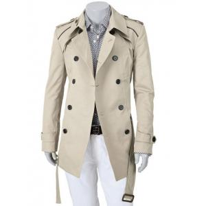 Epaulet Design Turn-Down Collar Double Breasted Slimming Long Sleeve Coat For Men