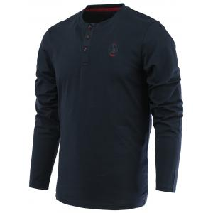 Letter Anchor Embroidery Long Sleeve Round Neck Henley-Shirt - Sapphire Blue - 3xl