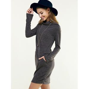 Long Sleeve Cowl Neck Solid Color Dress -