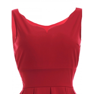 Vintage Sweetheart Neck Red Pleated Dress -