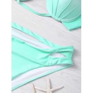 Halter Gradient Color Hollow Out Women's Bikini Set - LIGHT GREEN XL