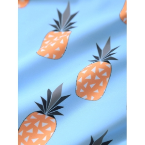 Spaghetti Strap Pineapple Print Women's Bikini Set - LIGHT BLUE 2XL