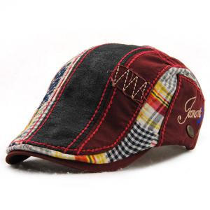 Patchwork Pattern Embroidery Outdoor Sunscreen Cabbie Hat For Men - Wine Red
